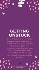 OBEDIENCE: GETTING UNSTUCK